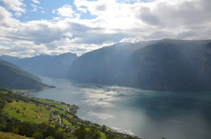 Punkt widokowy Sitgastein - panorama Aurlandsfjord Norwegia
