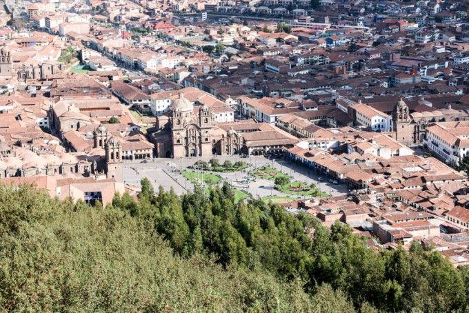 Panorama Plaza de Armas Cusco z Sacsayhuaman Peru