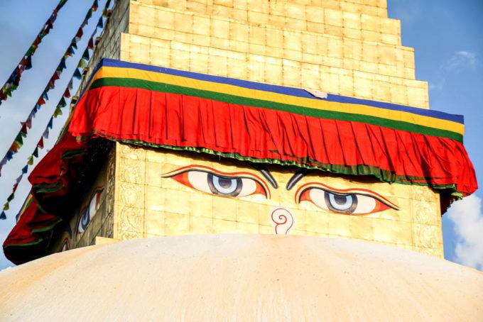 Nepal Katmandu stupa Bodnath oczy Buddy