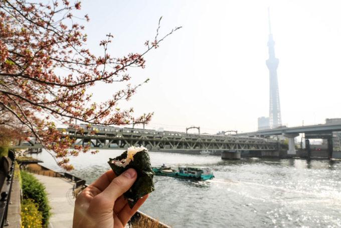Tokyo Skytree z brzegu rzeki Sumidy