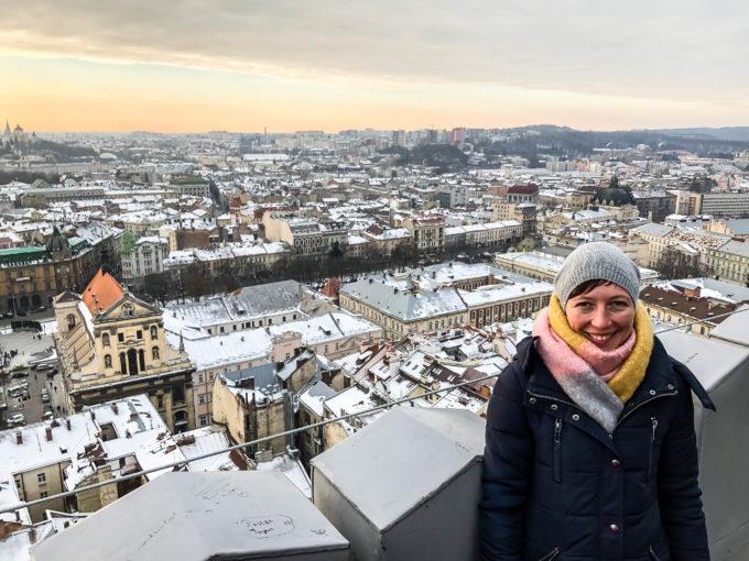 Panorama z wieży Ratusza we Lwowie