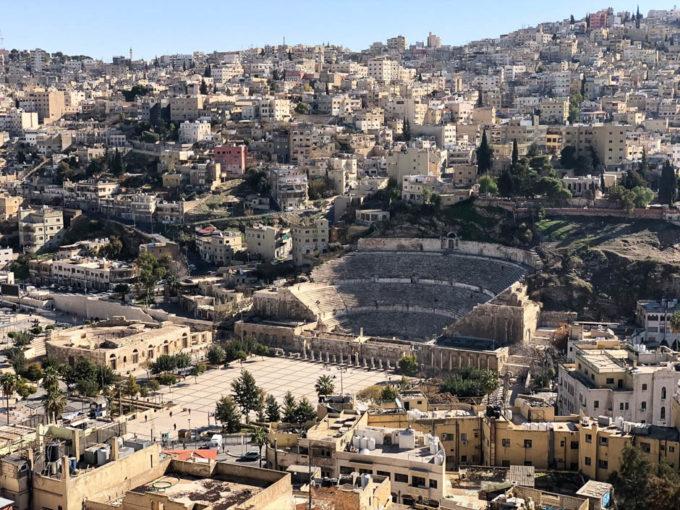 Amman panorama z cytadeli teatr rzymski